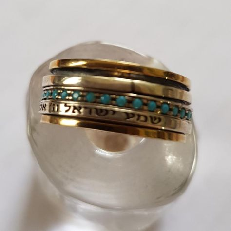Set me free R1075E boho spinner bands stacking ring Two tones ring silver gold ring meditation ring Silver wedding band wide band