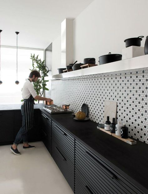 modern black and white kitchen #blackcabinets #tilestyle
