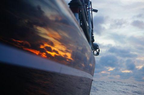 Atardecer en alta mar caribe