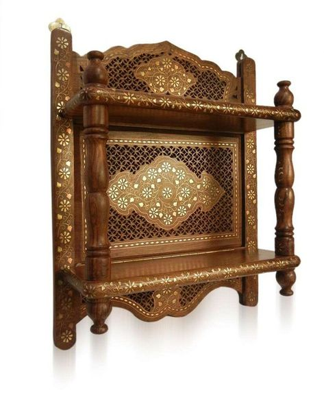 Classic India Wooden Hand Made Carved Handicraft Wall Shelf Bracket Temple Pooja Room Design Antique Wall Shelf Pooja Rooms