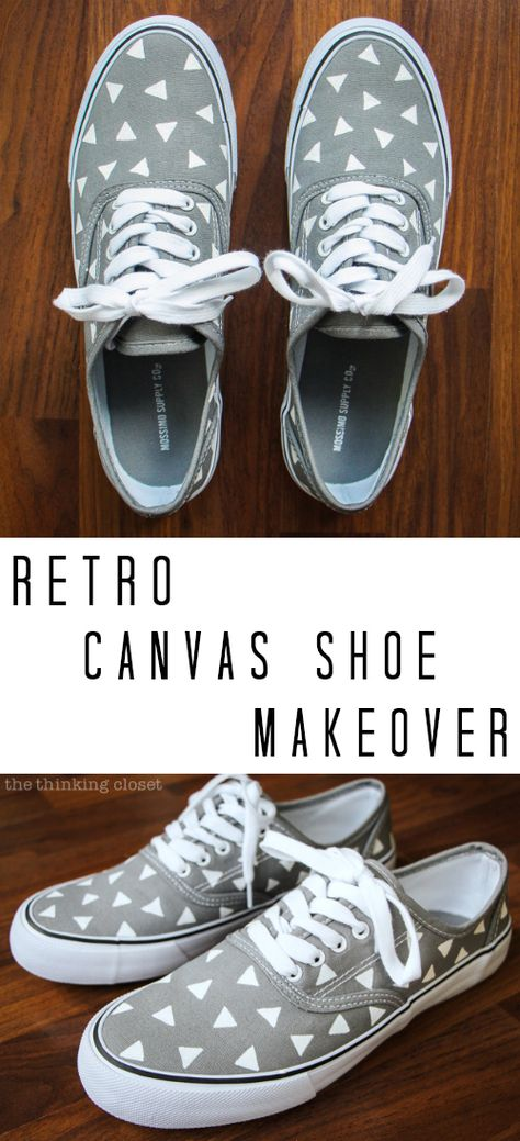 Retro Canvas Shoe Makeover: easy and entertaining tutorial by Lauren from thinkingcloset.com