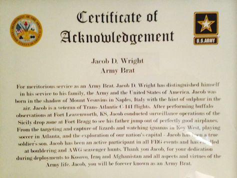 Army brat certificate Army stuff Pinterest Army brat - army certificate of appreciation