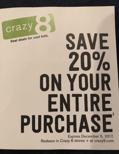 picture relating to Crazy8 Printable Coupons named Outrageous 8 20% OFF Acquire Coupon Promo Lower price Code Small children
