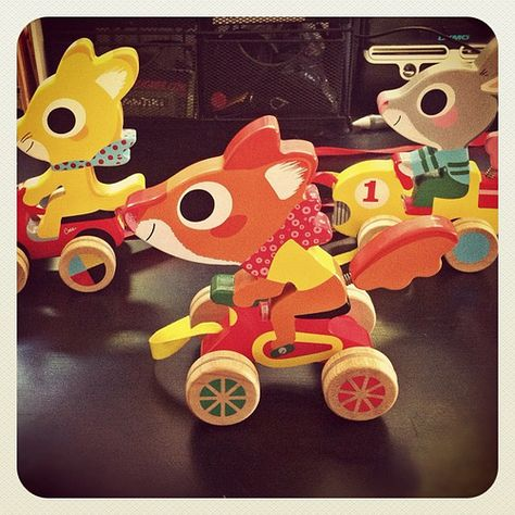 Marc Boutavant wooden pull toys. i DO have a birthday coming up...