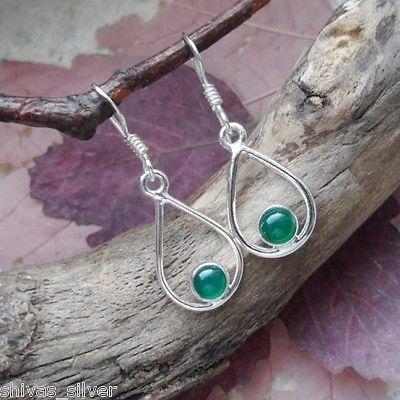 Ohrringe, 925 Sterling Silber, grüner Onyx