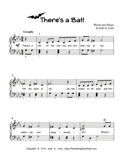 There s a Bat! Free printable Halloween piano song for piano lessons ... 877eea3ed3b2