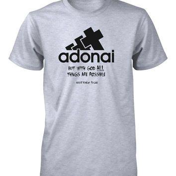 Adonai All Things Possible God Bible Verse Christian T-shirt for Men