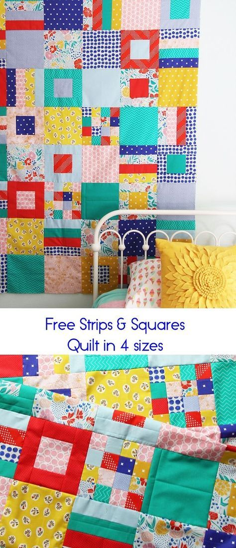Jelly Roll Quilt Patronen.Squares And Strips Bed Quilt Quilts Blokken