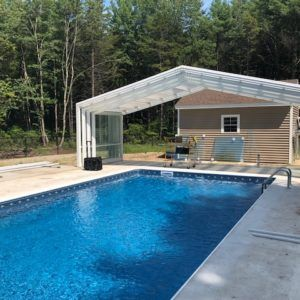 Maine Pool Enclosure Manufactured By Roll A Cover Intl Residential Pool Pool Pool Enclosures
