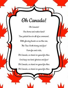 Oh Canada National Anthem New Version French English Bilingual Posters Bilingual Canada Project National Anthem
