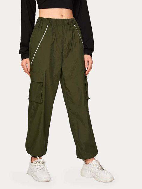 Solid Flap Pocket Side Cargo Pants #Sponsored , #affiliate, #Pocket#Flap#Solid