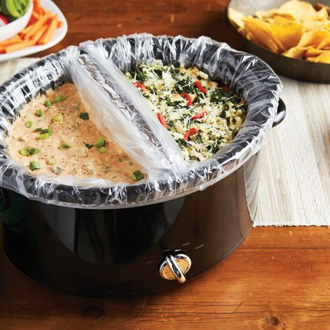 You Can Cook Two Dips At Once With This Genius Slow-Cooker Hack! In a world rife with options—Queso! Lasagna! Chicken Cordon Bleu!—how could you possibly limit yourself to just one dip?! Divides the bowl of the appliance into two sections. Meaning you can heat two dips at once.