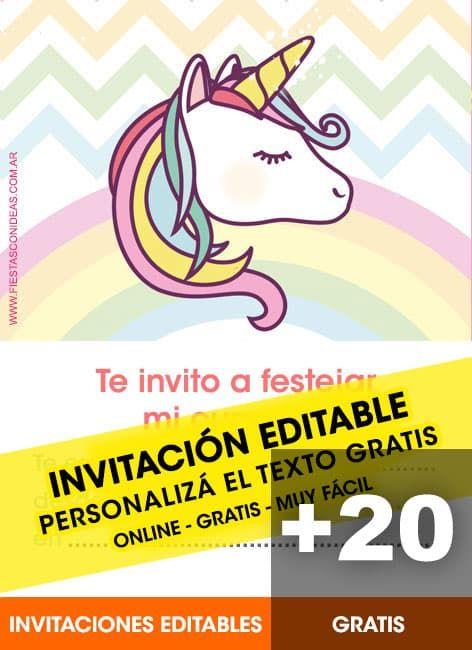 25 Tarjetas De Cumpleaños De Unicornios Invitacion De