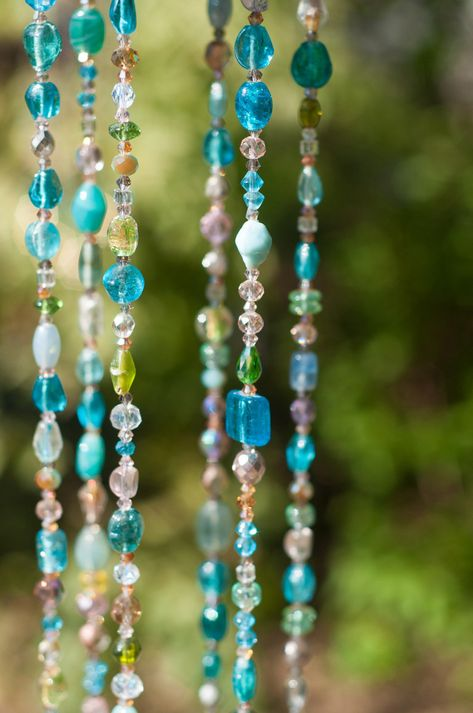 Garden wind chime-turquoise Beaded Hanging Mobile-aqua mobile-outdoor wind chimes-garden decoration-garden bell-outdoor chime-outdoor bell by RONITPETERART on Etsy