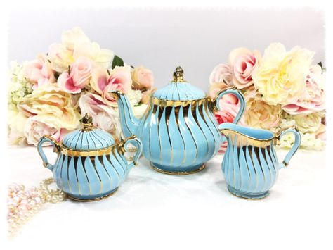 Blue and Gold Sadler 3 Piece English Teapot by ChicPartyCreations
