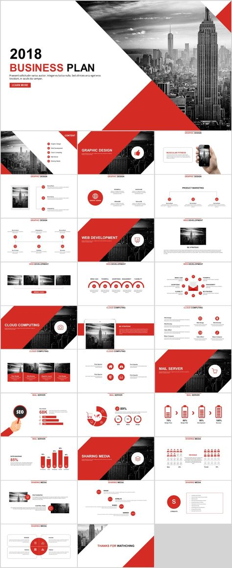 30+ Red Year report charts PowerPoint template