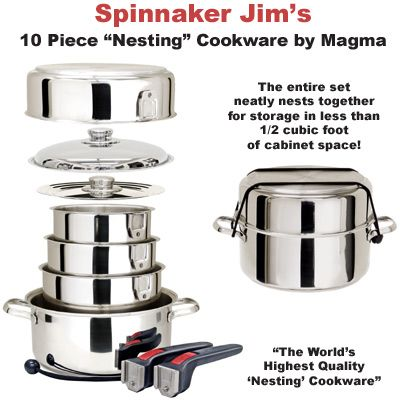 stainless steel cookware set that nests for storage in less than 1/2 cubic foot of cabinet space