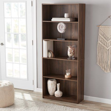 Mainstays 71 Inch 5 Shelf Standard Bookcase Walnut Brown Shelves Bookcase Storage Bookcase