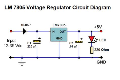 how to connect 7805 voltage regulator