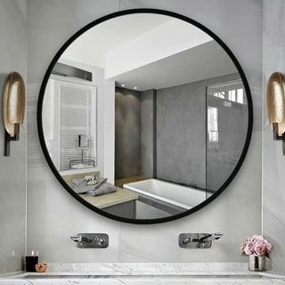 Shop Carson Carrington Salmi Aluminum Alloy Framed Round Mirror 23 62x23 62 On Sale Overstock 2 In 2020 Bathroom Vanity Mirror Round Mirrors Black Round Mirror