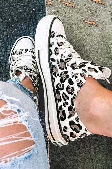 Leopard Print Lace up Canvas Shoes - White / 8.5(40)