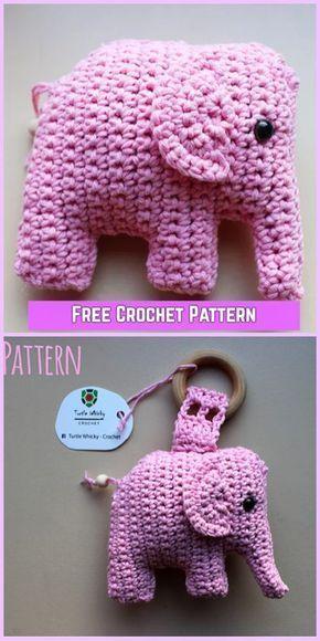 Crochet Elephant Amigurumi Free Pattern with Video   動物   Crochet