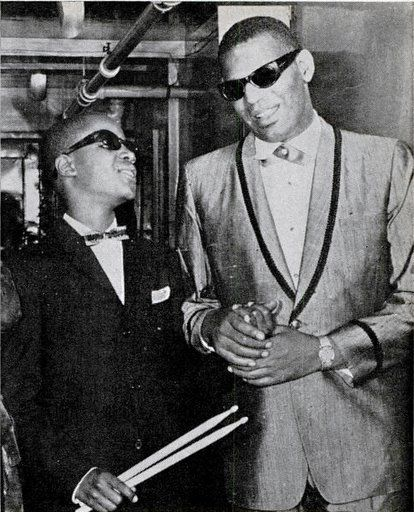 Stevie Wonder and Ray Charles; an inspirational duo to say the least. this picture brings me so much joy!