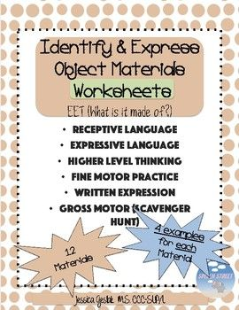 Identify Describe Object Materials What Is It Made Of Receptive Language Expressive Language Language Therapy