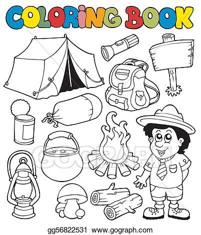 Vector Art Coloring Book With Camping Images Eps Clipart Gg56822531 Gograph Coloring Books Camping Images Clip Art