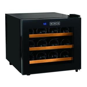 Wine Enthusiast Silent 12 Bottle Touchscreen Wine Cooler With Wood Shelves 272 03 12w Wine Enthusiast Wine Cooler Wine Refrigerator