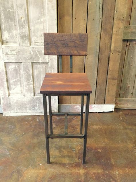 Cool Industrial Reclaimed Wood Bar Stool Steel Base In 2019 Evergreenethics Interior Chair Design Evergreenethicsorg