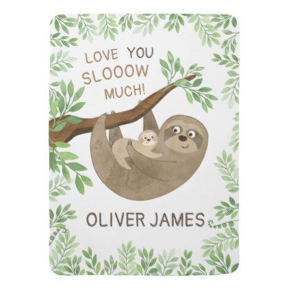 I Love You Slow Much Sloth Baby Blanket Zazzle Com Sloth
