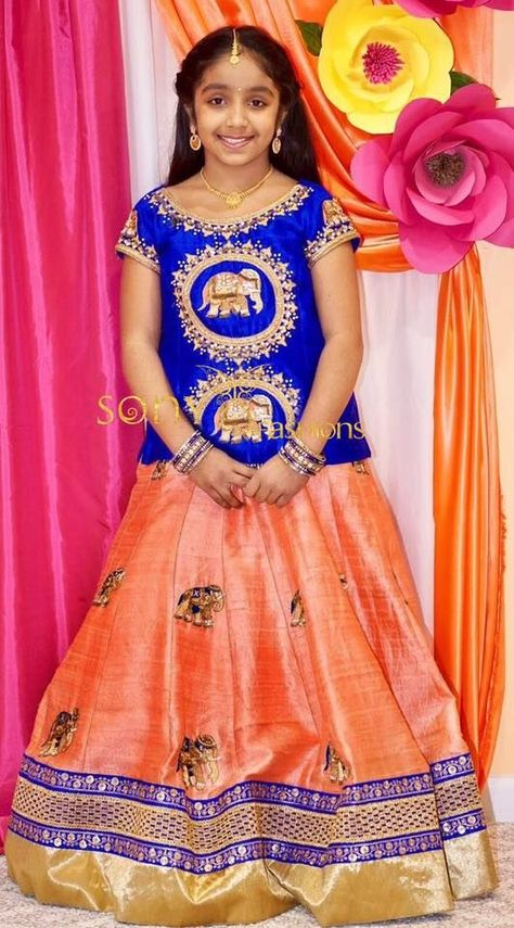 Cute little Hasini  In parikini !!!!! For couture details:- Mail us at:-sonyreddy24@gmail.com Call or WhatsApp:-8008100885