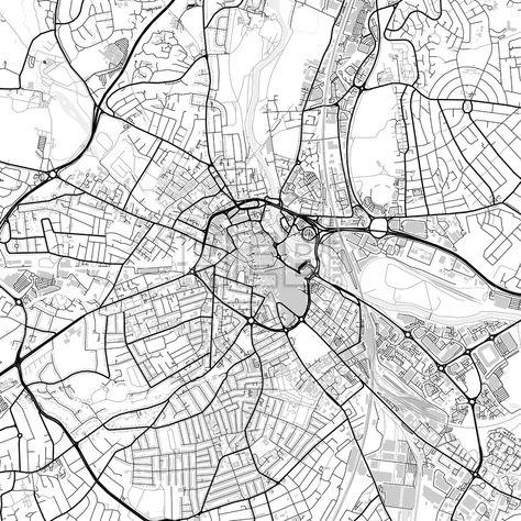 Downtown map of Derby, light | Streit