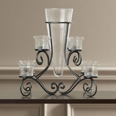 Waldemar Wrought Glass And Metal Candelabra Metal Candelabra Wrought Iron Candle Holders Glass Candlesticks