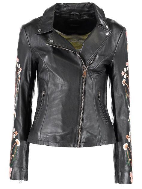 DNR Jackets Lederjacke mit floralen Stickereien Damen