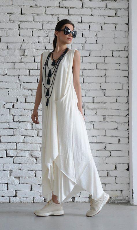 1a1cbd132d18 White Long Dress/Asymmetric Maxi Dress/Sleeveless Loose Kaftan/Casual White  Dress/Summer Oversize Tunic/Plus Size Dress by METAMORPHOZA in 2019 | стилі  бохо ...