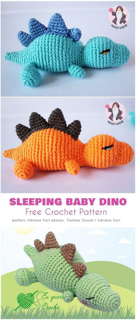 Sleeping Baby Dino Free Crochet Pattern
