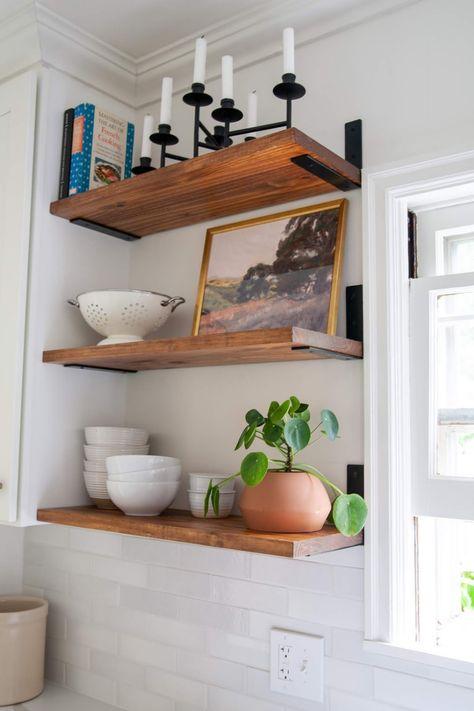 Diy Kitchen Shelves, Diy Wood Shelves, Floating Shelves Kitchen, Shelves With Brackets, Making Floating Shelves, Open Shelving In Kitchen, Timber Floating Shelves, Making Shelves, Pine Shelves