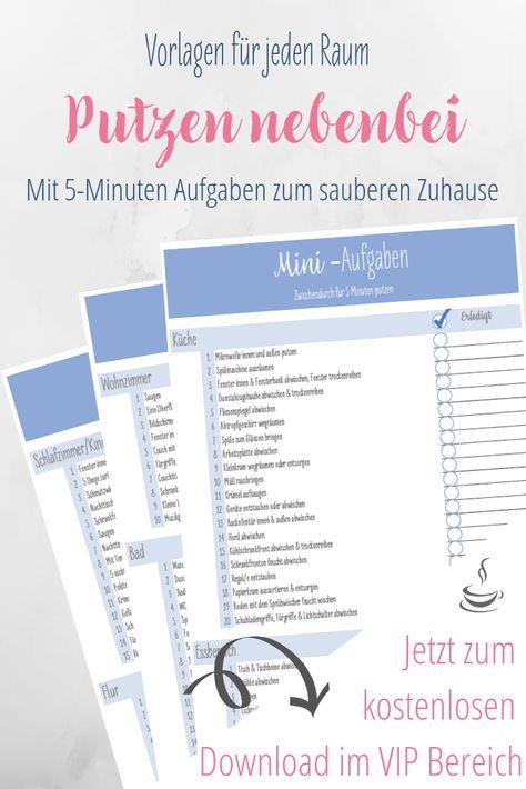 Putzenplan Fur Nebenbei Mit 5 Minuten Vorlage Haushalts Ordner Reinigungsplan Vorlagen Und Planer