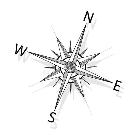 Vector compass. Black compass - hand drawing vector illustration , #ad, #Black, #compass, #Vector, #hand, #illustration #ad