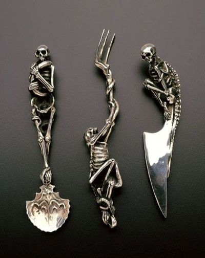 Skeleton Cutlery by Andre Lassen at Raven Armoury. Individually set Skeleton Cutlery by Andre Lassen at Raven Armoury. Death Becomes Her, Totenkopf Tattoos, La Forge, Image Of The Day, Gothic House, Victorian Gothic, Gothic Mansion, Gothic Wedding, Skull Wedding