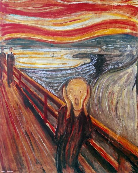 The Scream of Nature ~ A Painting by Edvard Munch Edvard Munch, Famous Artist Names, Famous Artists Paintings, Famous Acrylic Paintings, Popular Paintings, Le Cri, Van Gogh Art, Aesthetic Painting, Classic Paintings