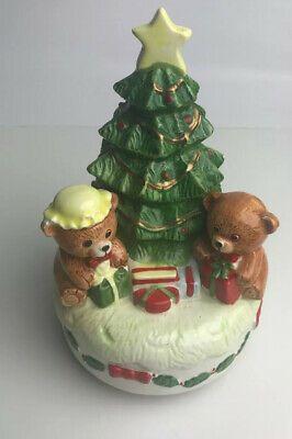 Vintage Christmas Tree Revolving Music Box Jingle Bells Teddy Bears 7 Tall Ebay In 2020 Christmas Tree Music Box Christmas Music Box Vintage Christmas Tree
