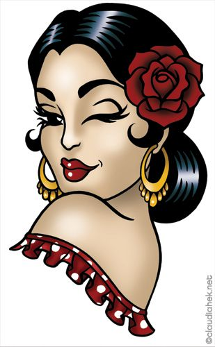 Pin Up Girl Tattoo, Pin Up Tattoos, Girl Tattoos, Chicano Tattoos, Tatoos, Tatuagem Pin Up, Ed Hardy Designs, Dibujos Pin Up, Rockabilly Art