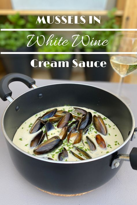 """Make this classic French dish """"Mussels in White Wine Cream Sauce,""""  and sip a glass of sauvignon blanc #frenchfood  Best Mussels Recipe, Mussels In Cream Sauce Recipe, Fish Recipes, Seafood Recipes, Mussel Recipes, Cooking Recipes, Cream Sauce Pasta, Cream Sauce Recipes, Seafood"""