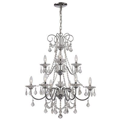 House Of Hampton Valor 9 Light Candle Style Tiered Chandelier Trans Globe Lighting Candle Styling Polished Chrome