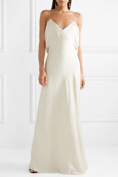 Ivory Gran Open Back Silk Satin Gown The Row Satin Gown Slip Wedding Dress Ivory Bridal Gown