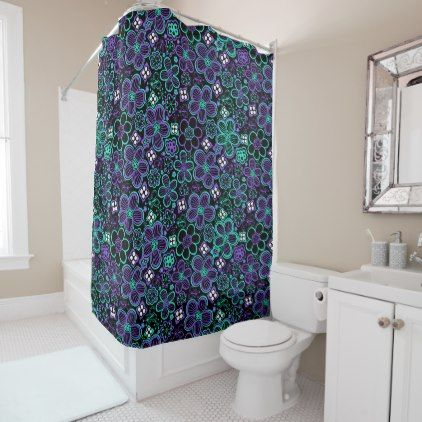 Funky 90s Glow Floral Pattern Black Green Purple Shower Curtain