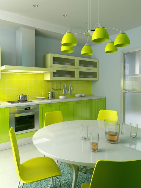 smart and fabulous colorful kitchen ideas with green kitchen cabinet green shade chandelier green chair round white table kitchen designs ideas